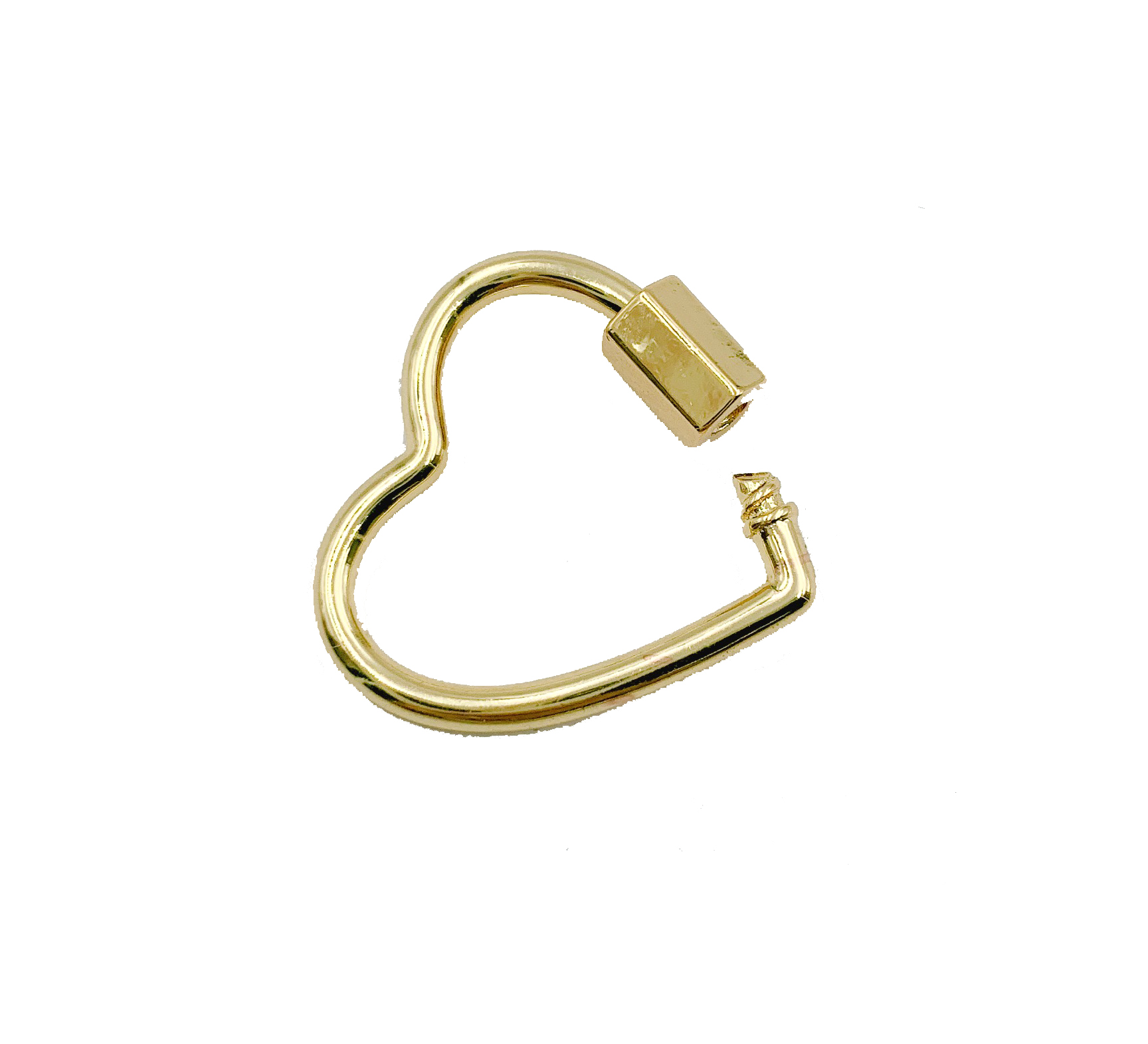 and Black Color Options Rose Gold Circle Screw Clasp with Rhinestones 1 pc 23x23mm Wholesale Heart Carabiner 24K Gold-Plated