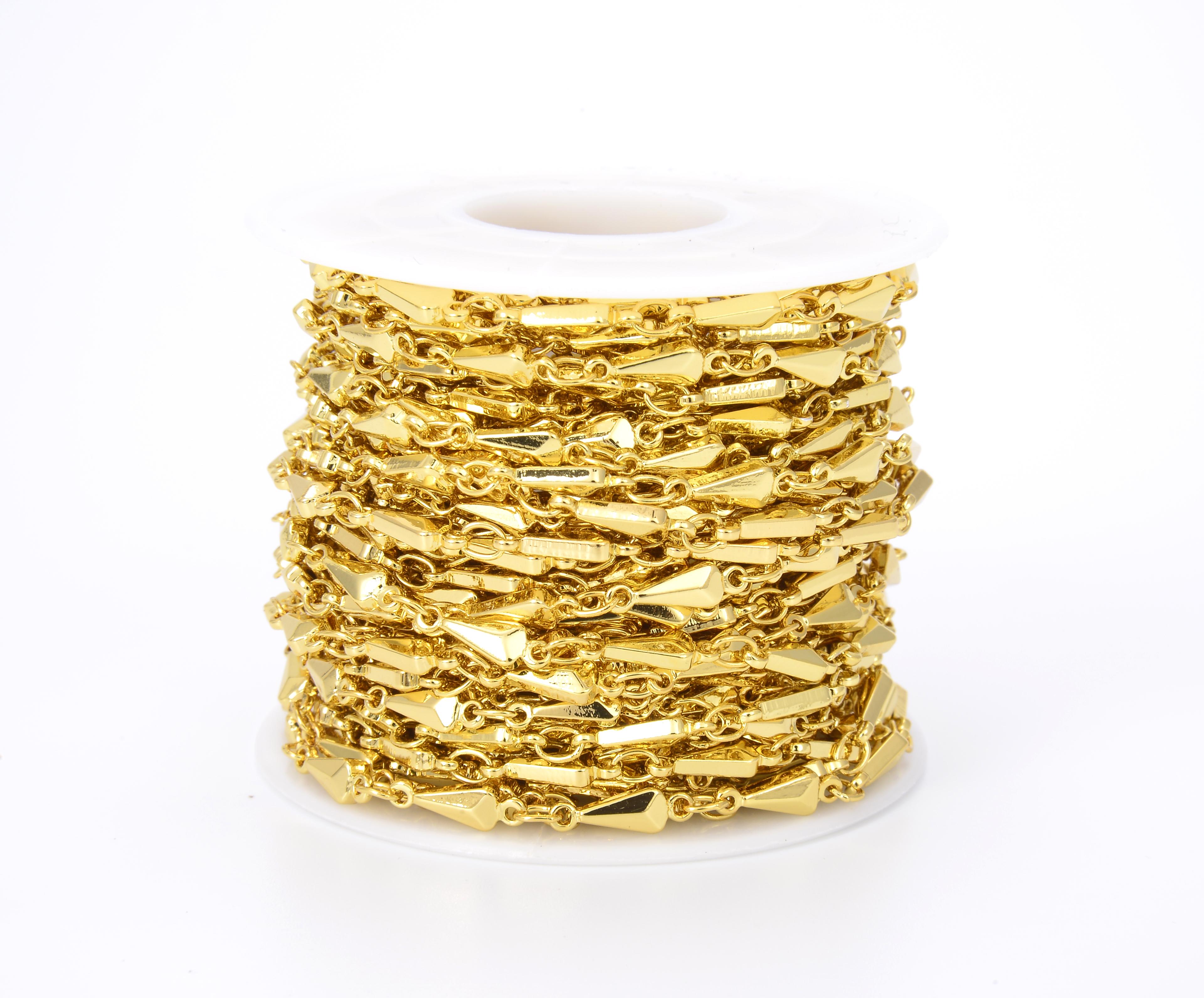 11x3mm Spike Chain 18K Gold Filled 1310 Feet Gold Triangle Beaded Chain CH080 Bulk Chain Arrowhead Beaded Chain Beaded Chain