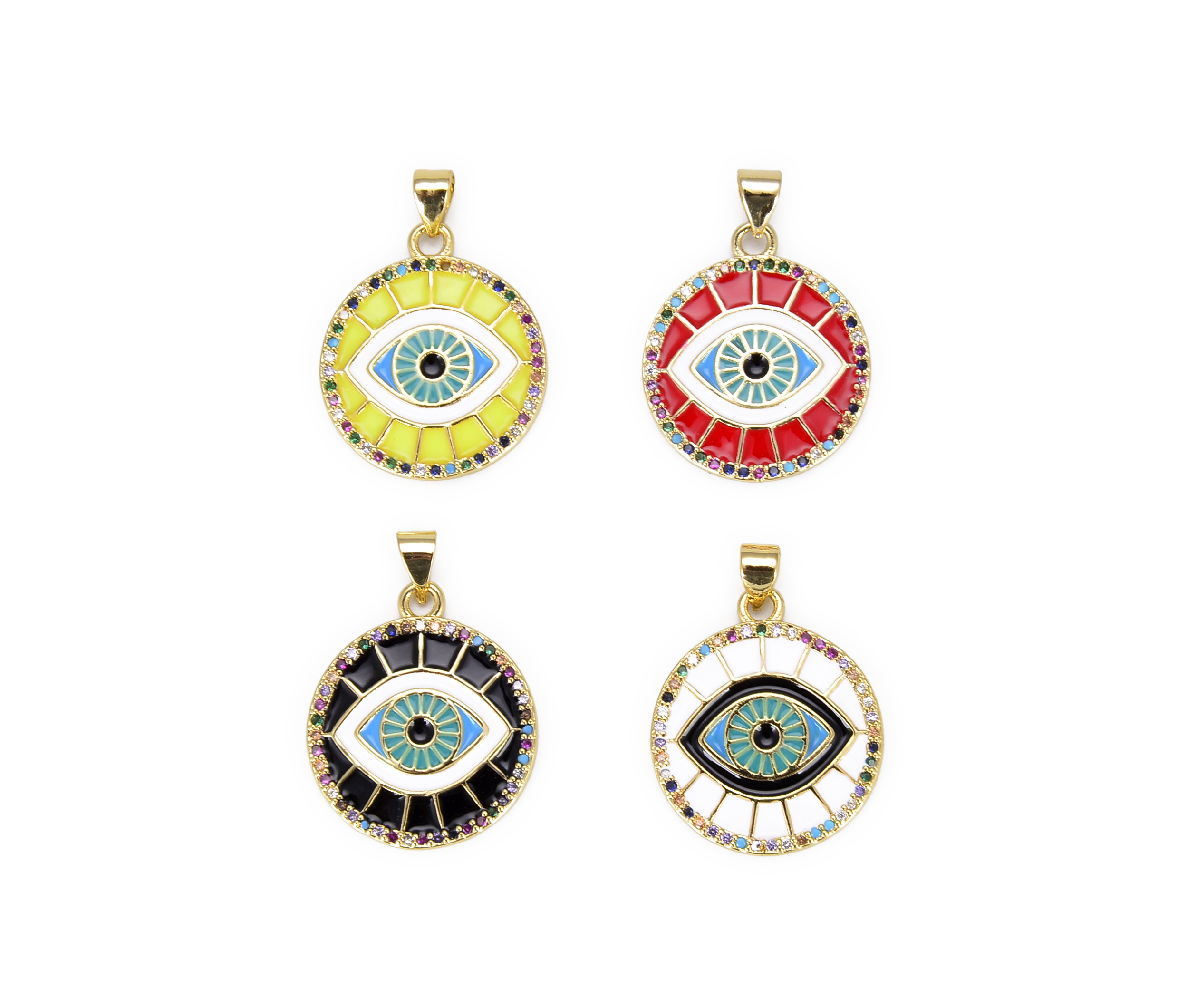 Black Enamel Cubic Zirconia Lucky Symbol Coin Necklace Lucky Evil Eye Pendant Necklace Gold Filled Good Luck Charm Necklace Rainbow