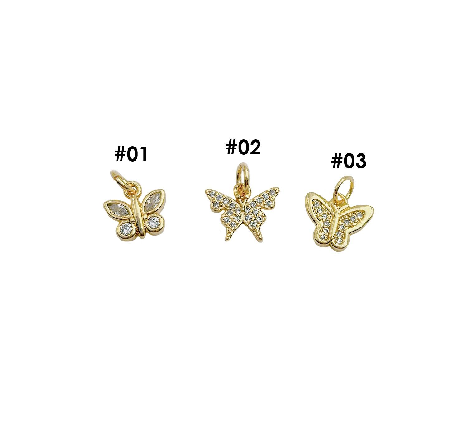 White Enamel CZ Micro Pave Butterfly Shape Pendant,Cubic Zirconia Butterfly Charm,GoldSilverRose Gold Tone,11x7mm,Sku#Y348