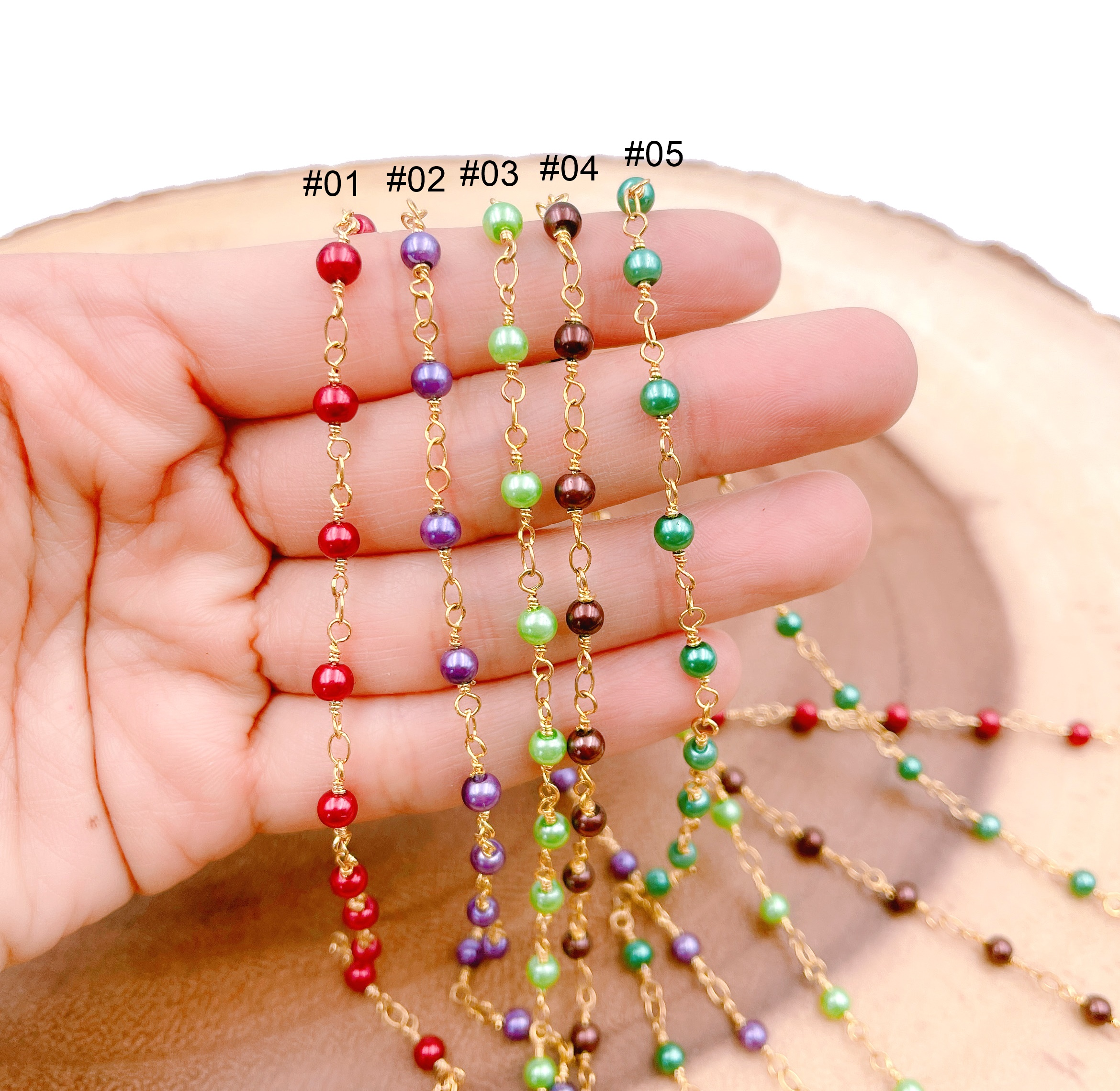 18K Gold Filled Half Bead Multi Color Chain Charms Bracelet For Wholesale Charm Bracelets /& Jewelry Making Supplies