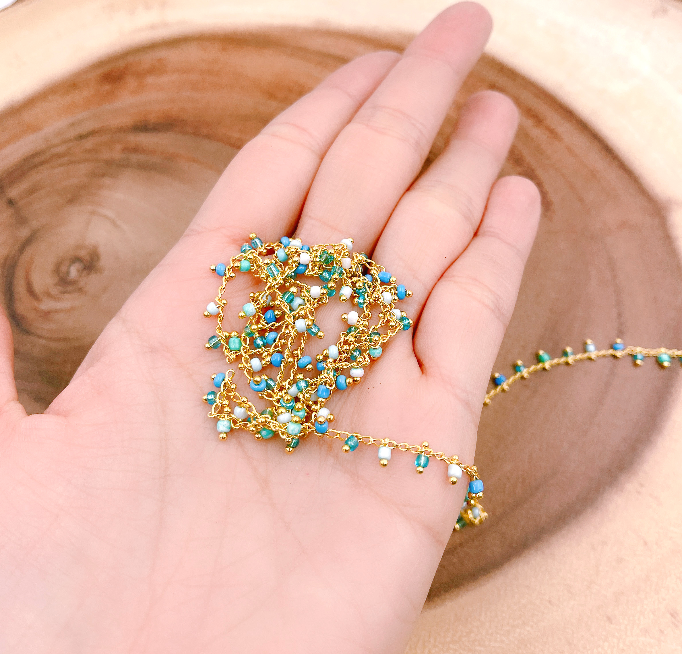 18k Shiny Gold Plated Chain Blue Beaded Chains  Beaded Bracelet Chain  Beaded Charms  Beaded Chain Wholesale for Jewelry Making
